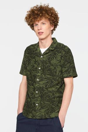 regular fit overhemd met all over print olijfgroen