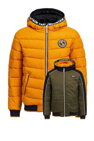 reversible winterjas donkerblauw/kaki/geel