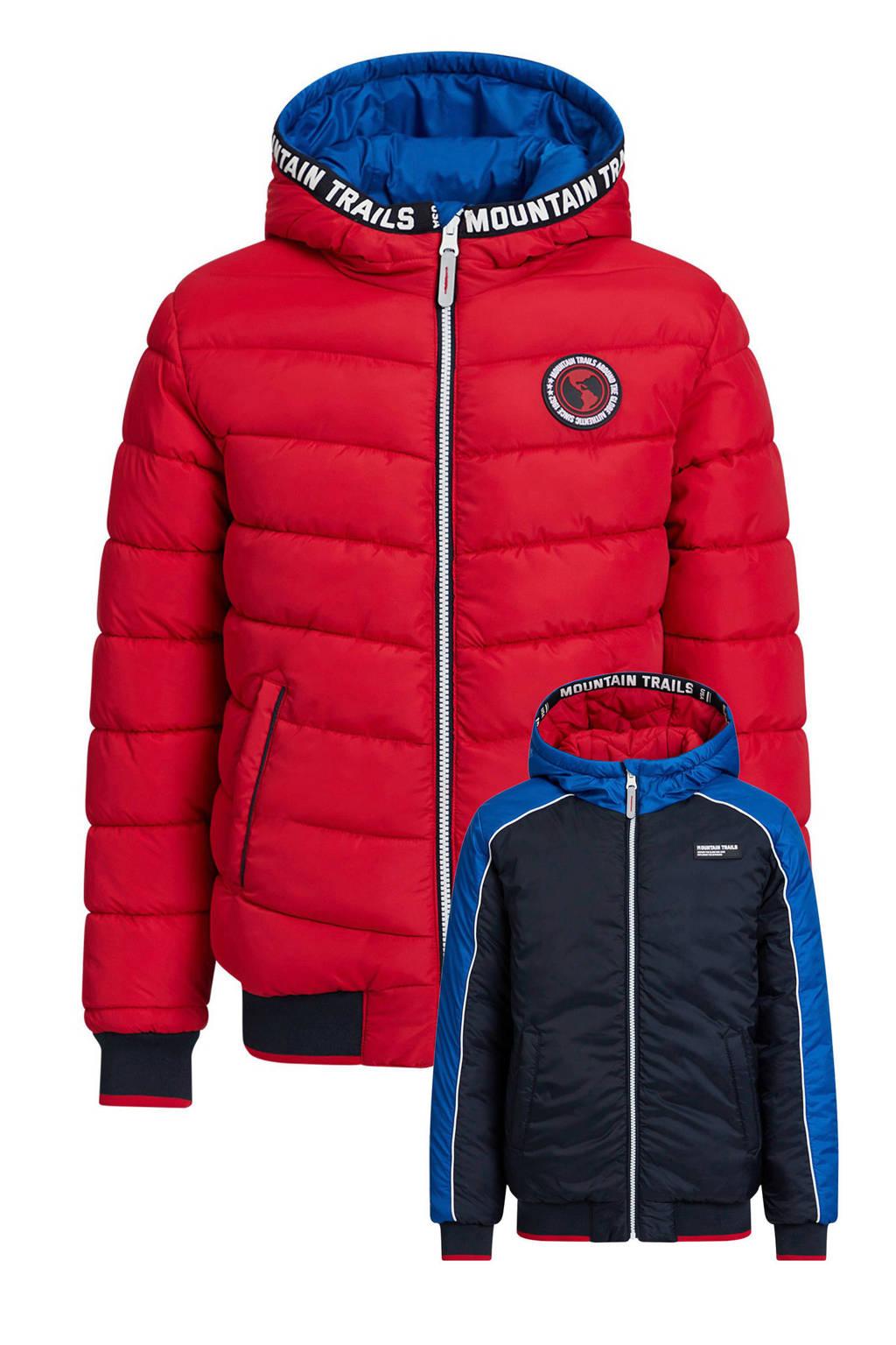 WE Fashion reversible winterjas donkerblauw/rood, Donkerblauw/rood