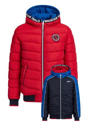 reversible winterjas donkerblauw/rood