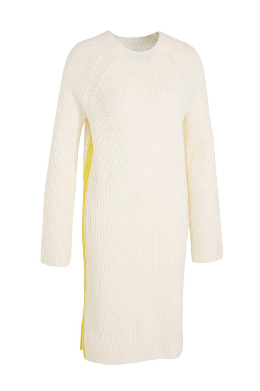 C&A Yessica jurk met contrastbies ecru/geel, Ecru/geel