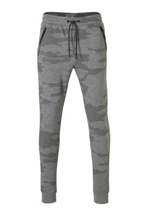 slim fit joggingbroek met camouflageprint grijs