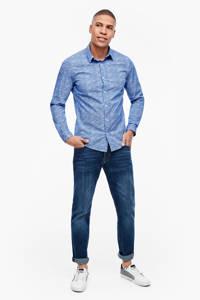 s.Oliver slim fit overhemd met all over print blauw, Blauw