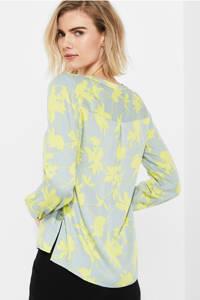 comma blouse met all over print lichtblauw/geel, Lichtblauw/geel