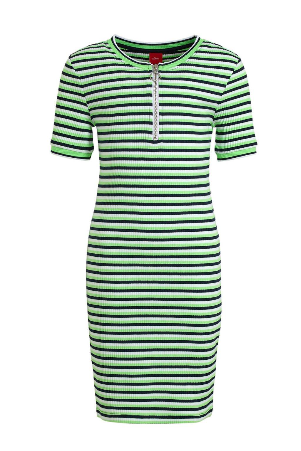 s.Oliver gestreepte ribgebreide jersey jurk lichtgroen/donkerblauw/wit, Lichtgroen/donkerblauw/wit