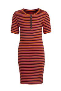 s.Oliver gestreepte ribgebreide jersey jurk oranje/roze/antraciet, Oranje/roze/antraciet