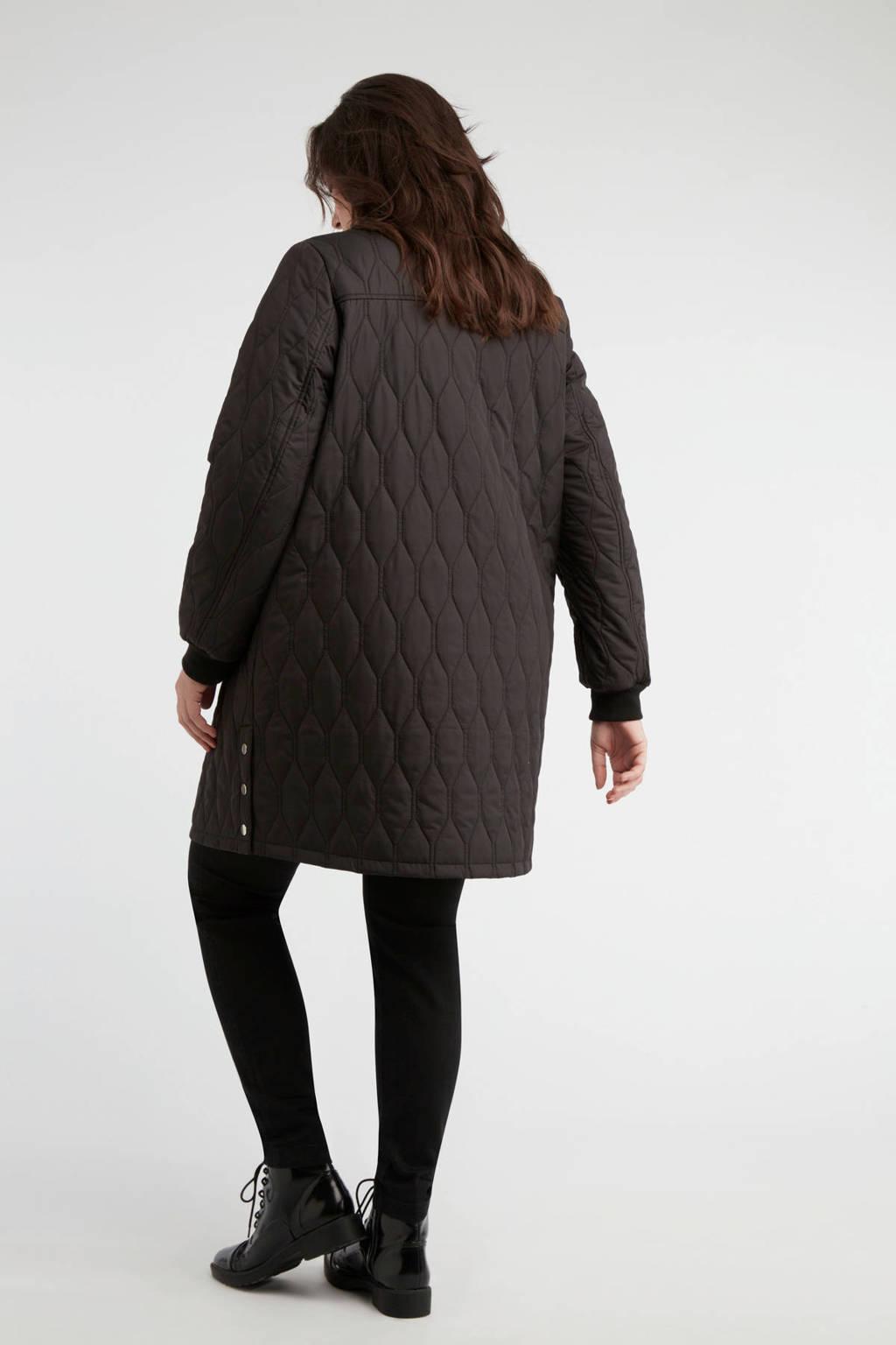 MS Mode gewatteerde jas zwart, Zwart