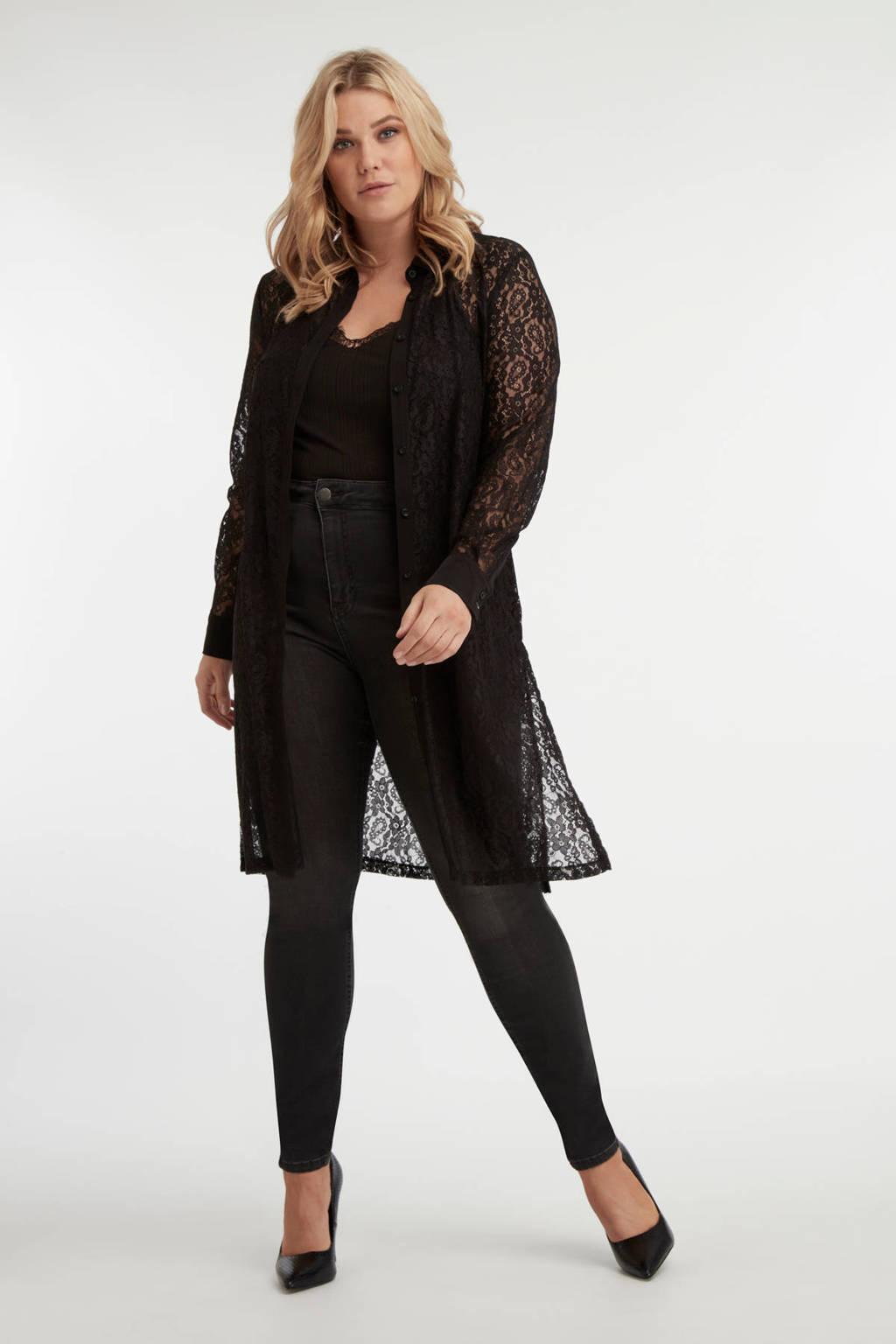 MS Mode kanten blouse zwart, Zwart