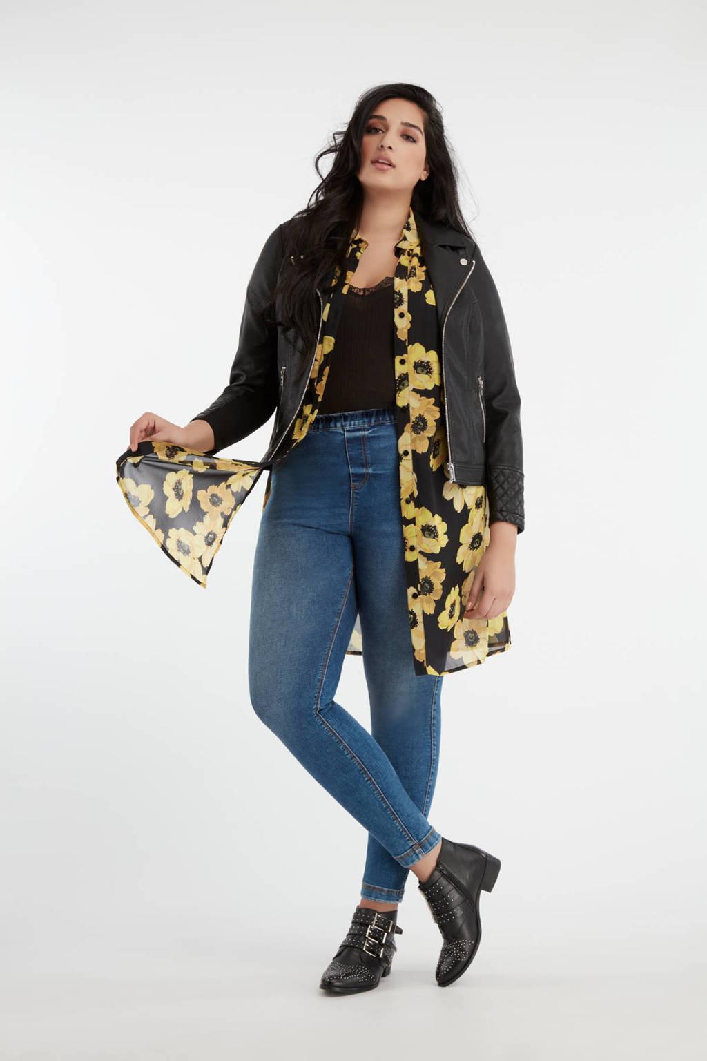 MS Mode gebloemde blouse geel/zwart, Geel/zwart
