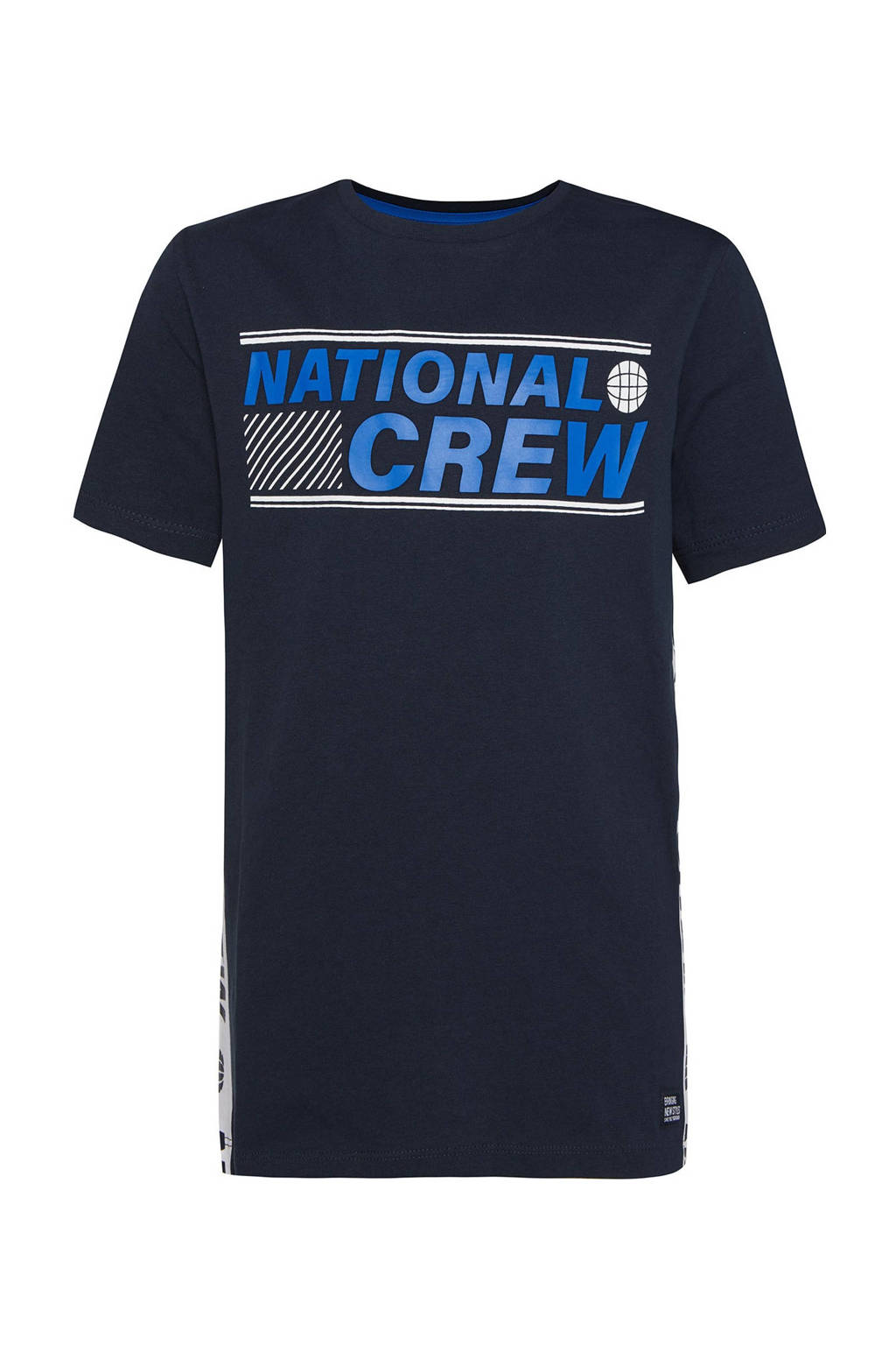 WE Fashion regular fit T-shirt met tekst donkerblauw/blauw/wit, Donkerblauw/blauw/wit