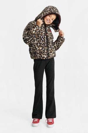 gewatteerde winterjas met panterprint en 3D applicatie bruin/zwart