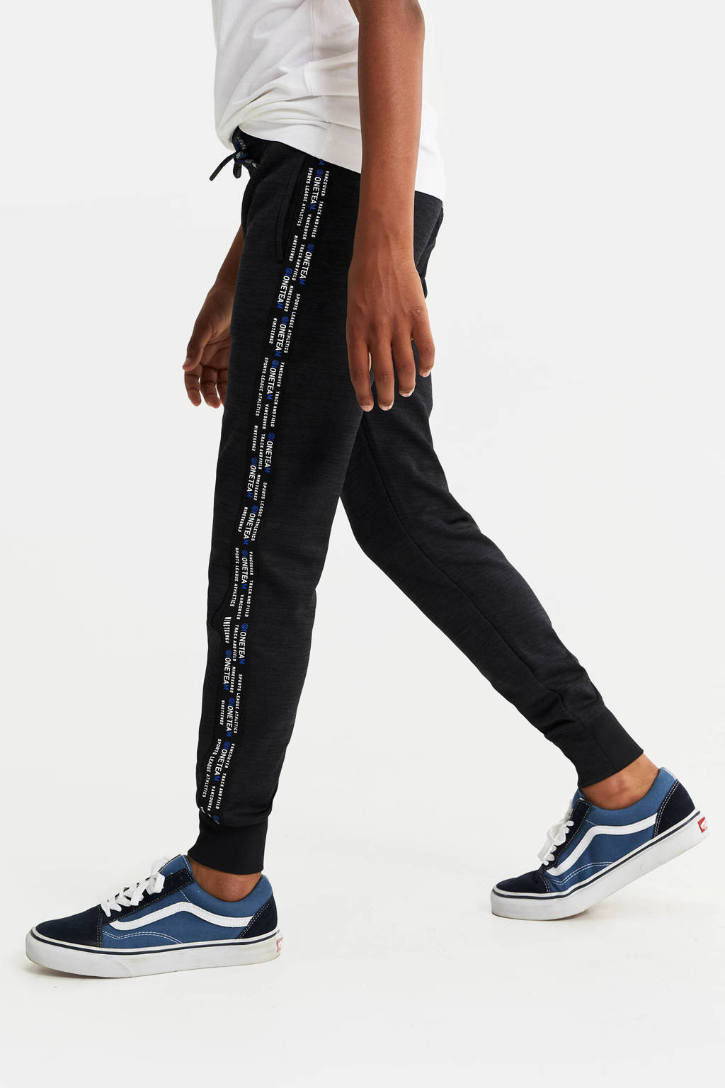WE Fashion slim fit joggingbroek met zijstreep antraciet, Antraciet