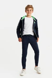 WE Fashion slim fit broek met zijstreep donkerblauw/groen/wit, Donkerblauw/groen/wit