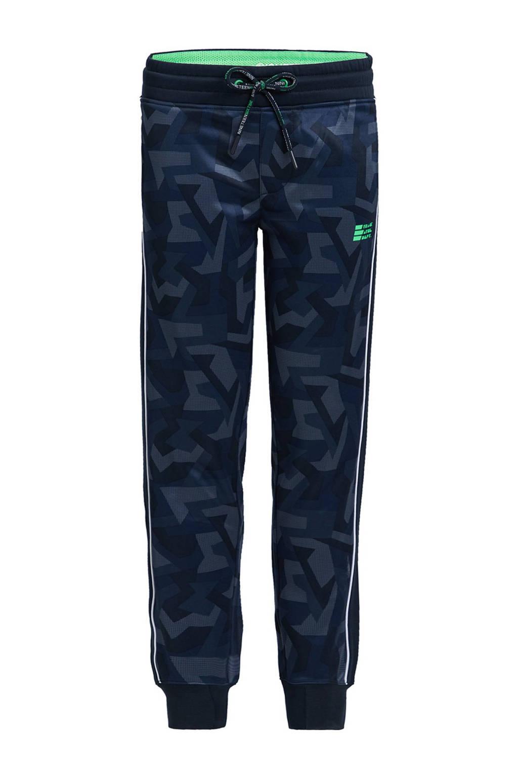 WE Fashion regular fit joggingbroek met zijstreep donkerblauw, Donkerblauw
