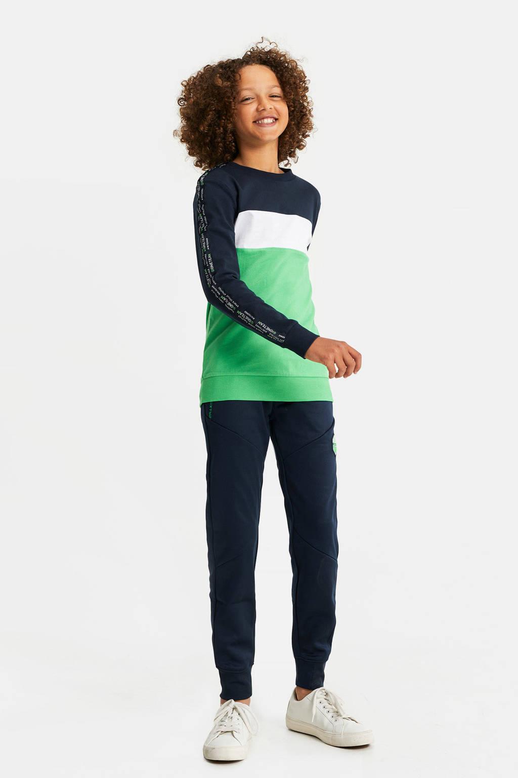 WE Fashion slim fit broek met zijstreep donkerblauw, Donkerblauw