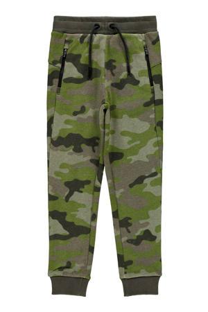 broek Tio met camouflageprint groen/antraciet