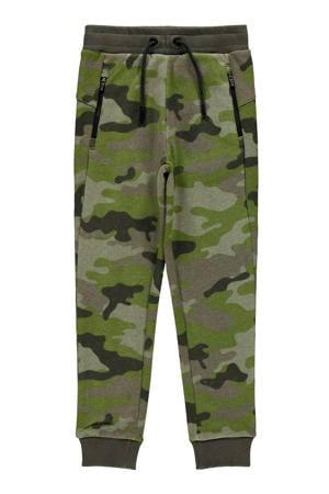 joggingbroek Tio met camouflageprint groen/antraciet
