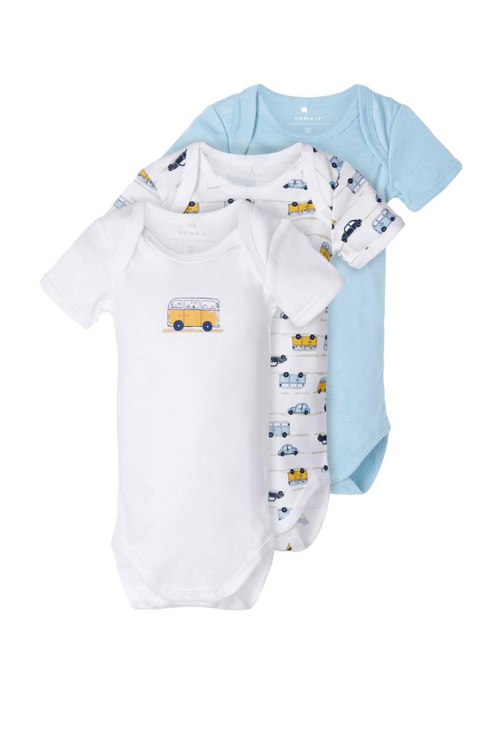 NAME IT BABY romper - set van 3 wit/lichtblauw/geel, Wit/lichtblauw/geel