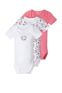 NAME IT BABY romper - set van 3 wit/roze/groen, Wit/roze/groen