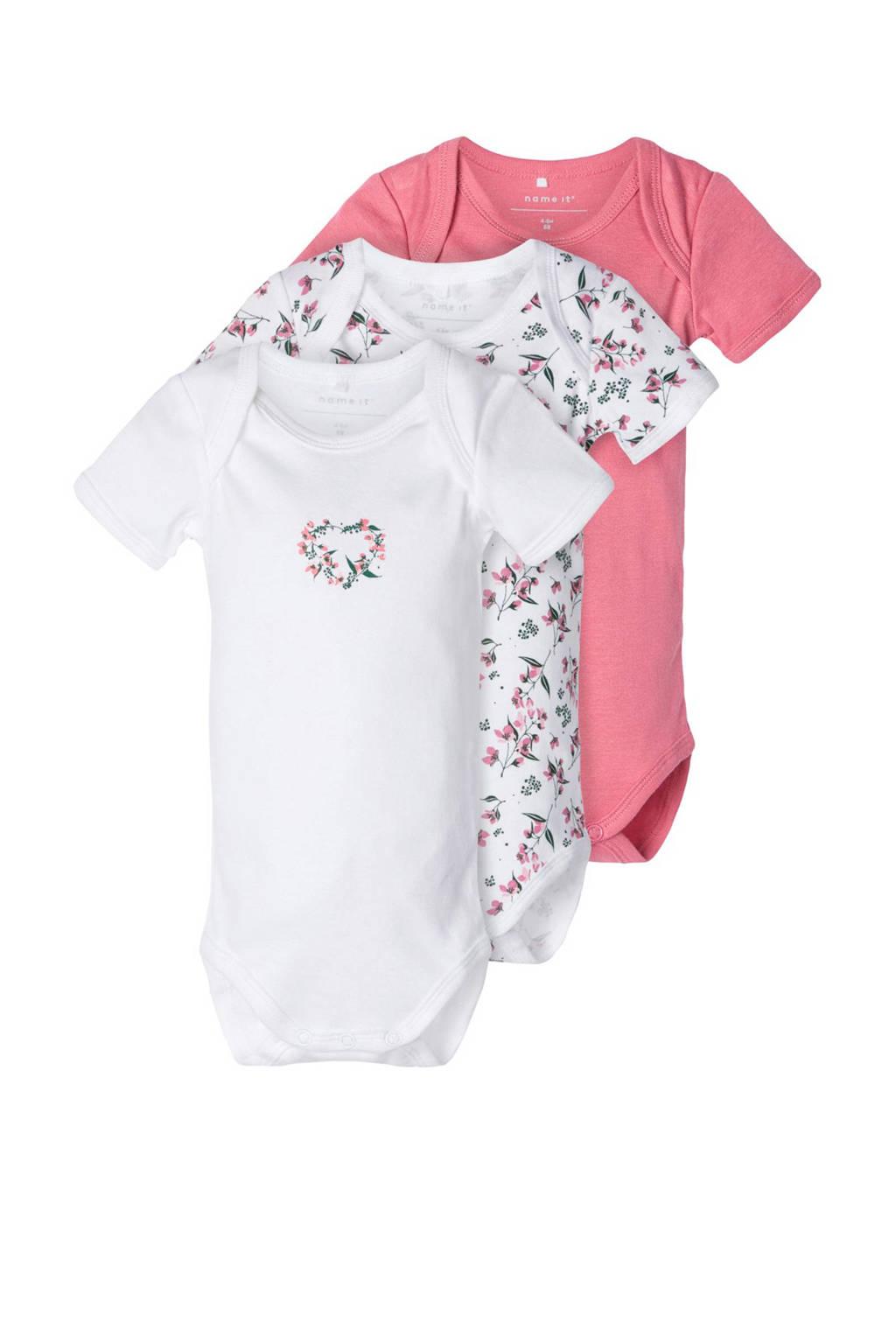 NAME IT BABY romper wit/roze/groen - set van 3, Wit/roze/groen