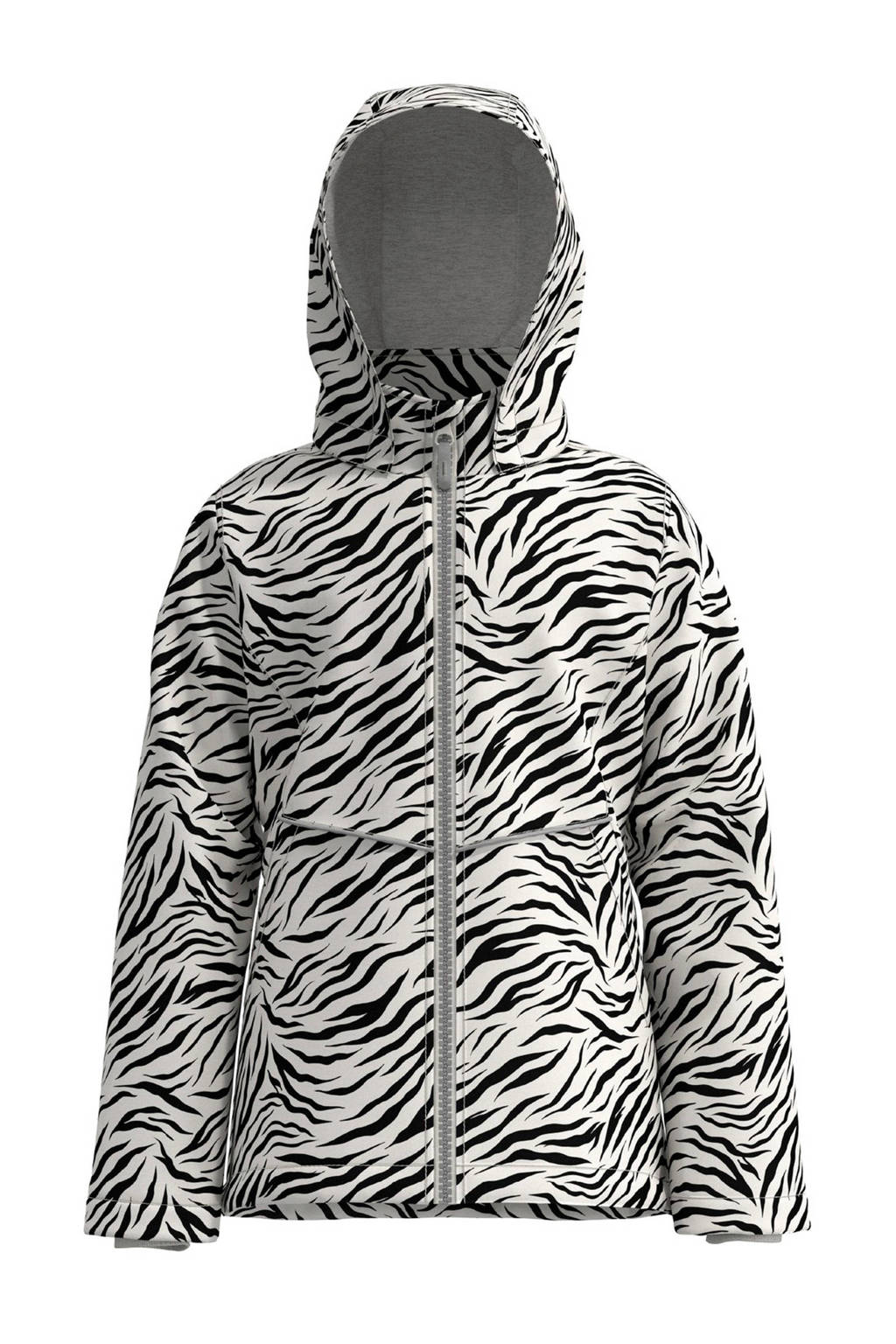 NAME IT KIDS jas Maxi met zebraprint wit/zwart, Wit/zwart