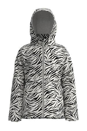 zomerjas Maxi met zebraprint wit/zwart