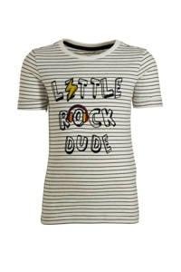 NAME IT MINI gestreept slim fit T-shirt Dylan wit, Wit