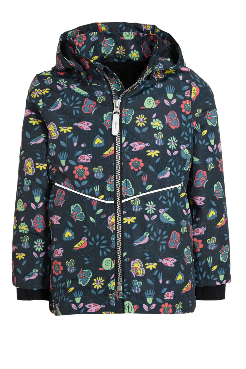 NAME IT MINI zomerjas Maxi met all over print donkerblauw/paars/groen, Donkerblauw/paars/groen