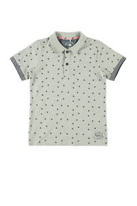 NAME IT KIDS polo met all over print lichtgrijs/donkerblauw, Lichtgrijs/donkerblauw