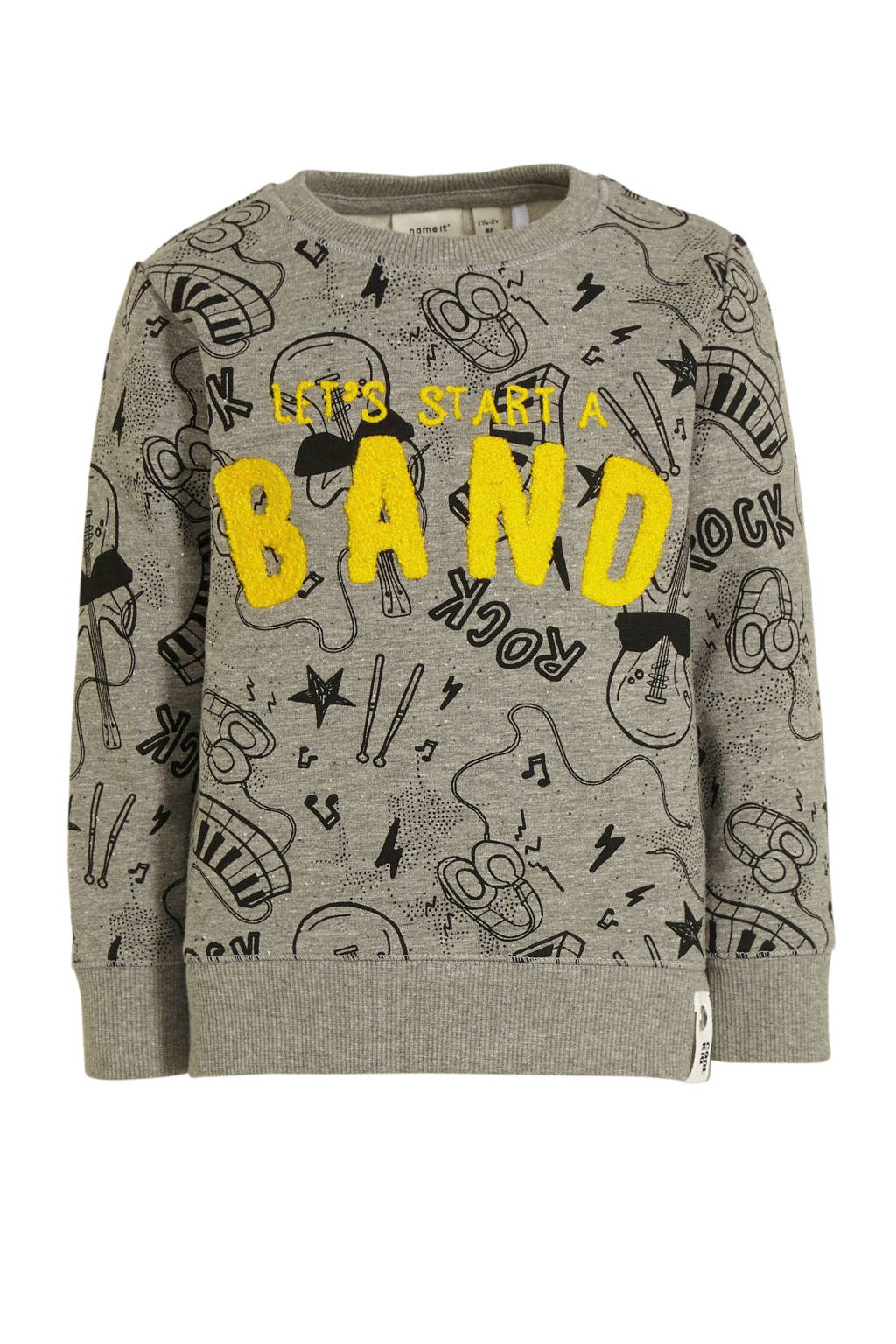 NAME IT MINI sweater Darocky met all over print en textuur grijs/geel/zwart, Grijs/geel/zwart