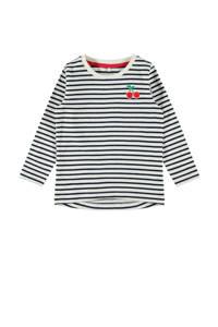 NAME IT MINI gestreepte longsleeve Dalla wit/donkerblauw/rood, Wit/donkerblauw/rood