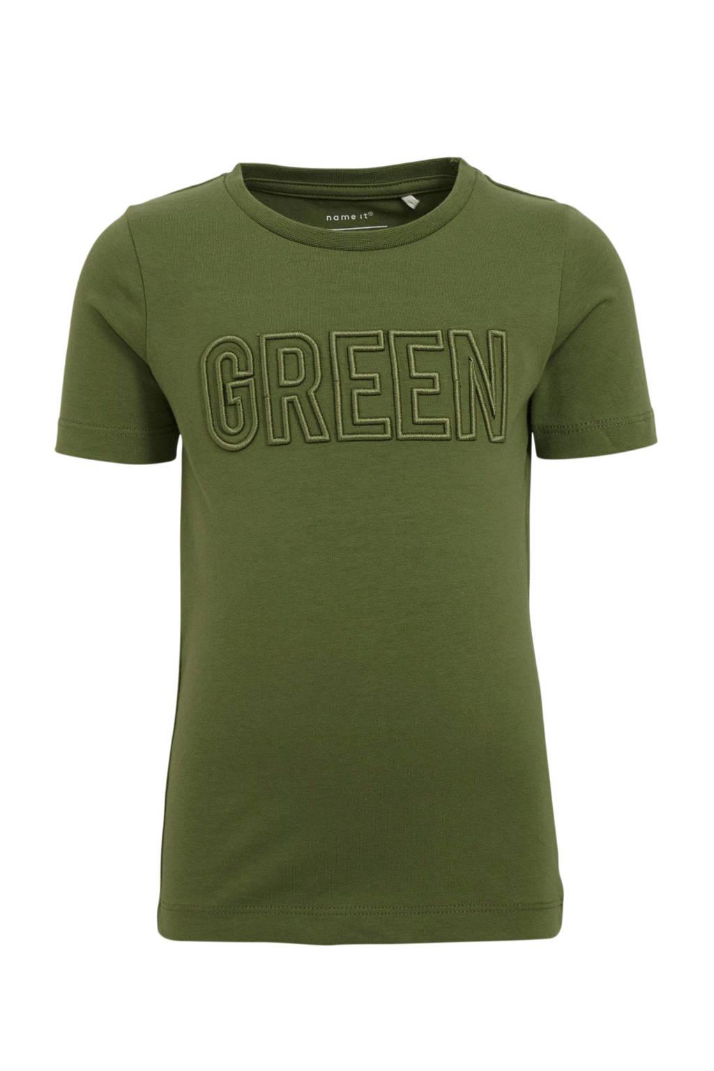 NAME IT MINI slim fit T-shirt Damony met tekst en borduursels army groen, Army groen