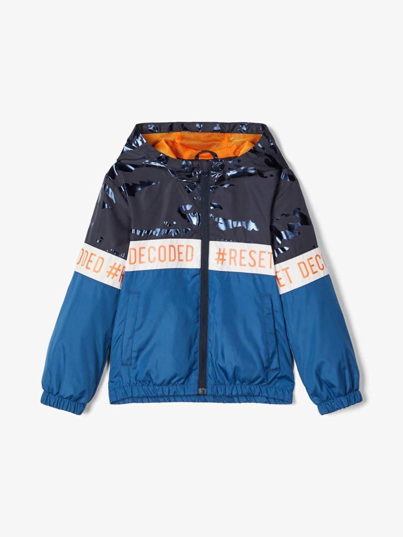NAME IT MINI zomerjas Milo blauw/donkerblauw/oranje