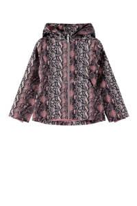 NAME IT KIDS zomerjas Maxi met slangenprint zwart/roze/lichtroze, Zwart/roze/lichtroze