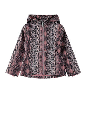 zomerjas Maxi met slangenprint zwart/roze/lichtroze