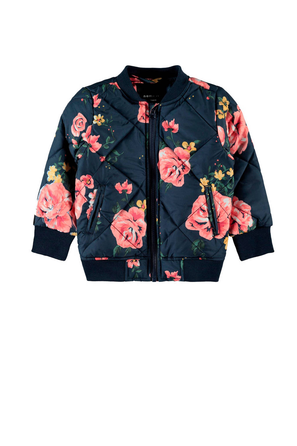 NAME IT MINI bomberjack Marie met all over print donkerblauw/roze/groen
