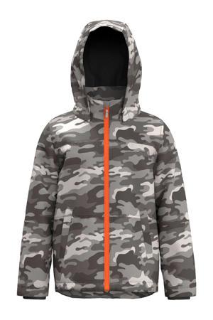 zomerjas met camouflageprint grijs/lichtgrijs/oranje