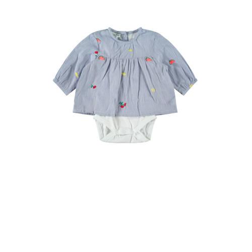 NAME IT BABY romper met blouse lichtblauw/wit