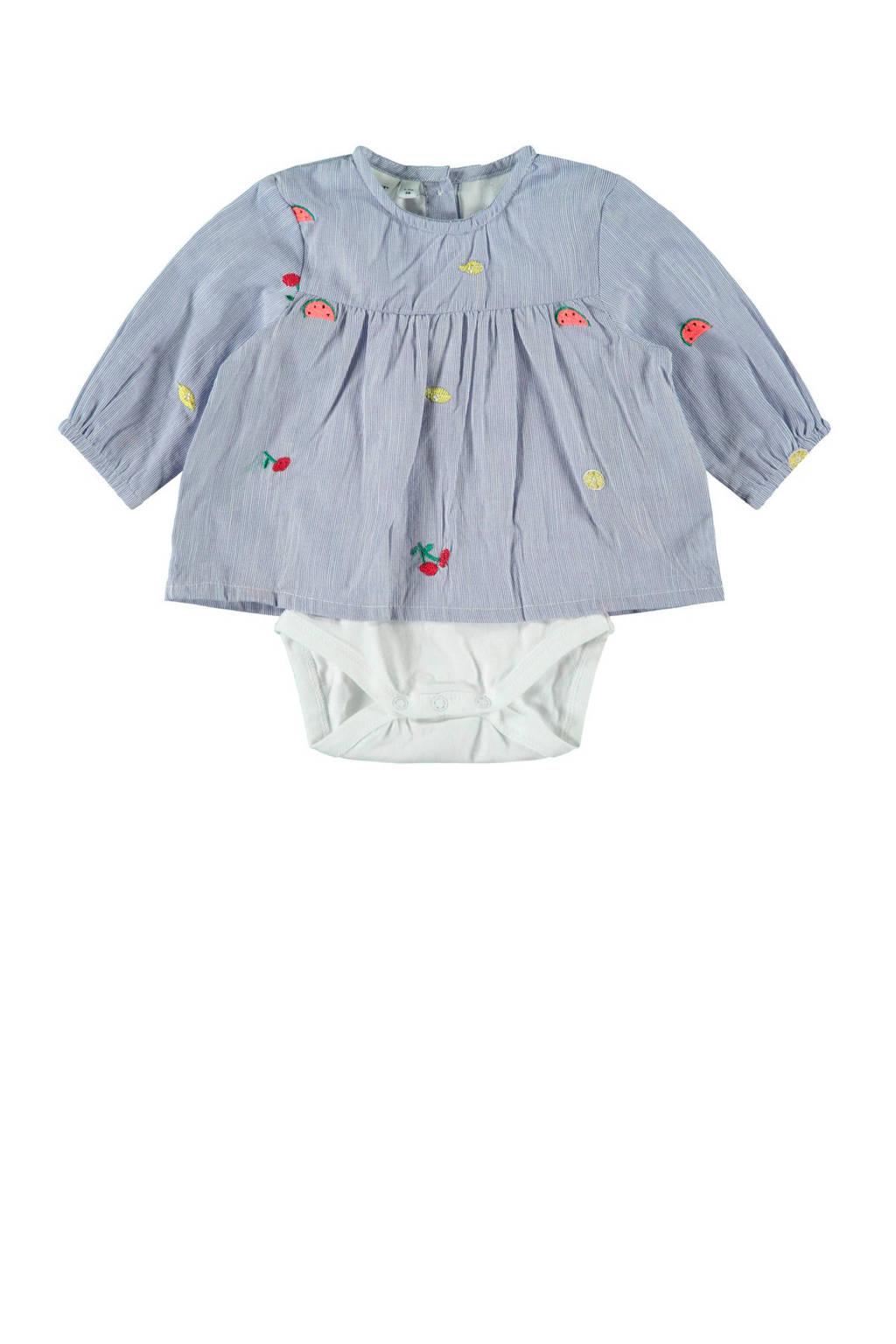 NAME IT BABY romper met blouse lichtblauw/wit, Lichtblauw/wit