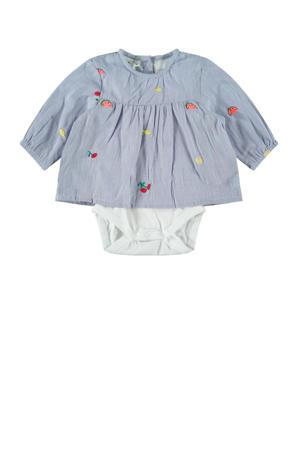romper met blouse lichtblauw/wit