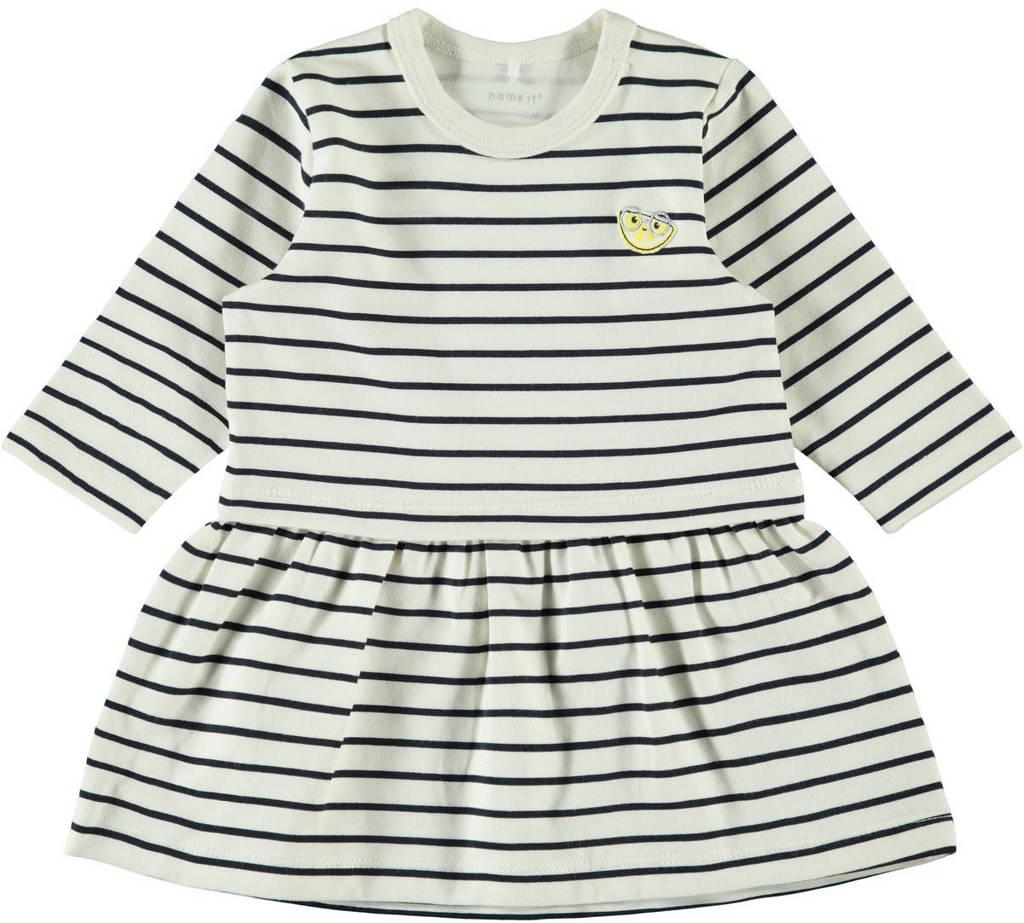 NAME IT BABY gestreepte jersey jurk Dilara ecru/donkerblauw, Ecru/donkerblauw
