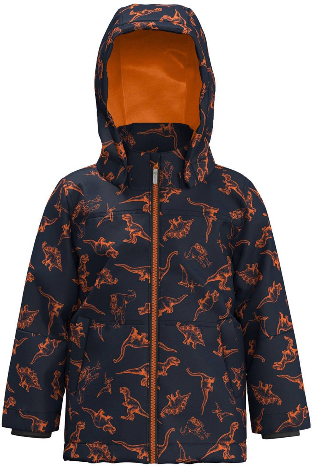 NAME IT MINI zomerjas Max met dierenprint donkerblauw/oranje, Donkerblauw/oranje