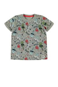 NAME IT MINI T-shirt Darock met all over print grijs, Grijs