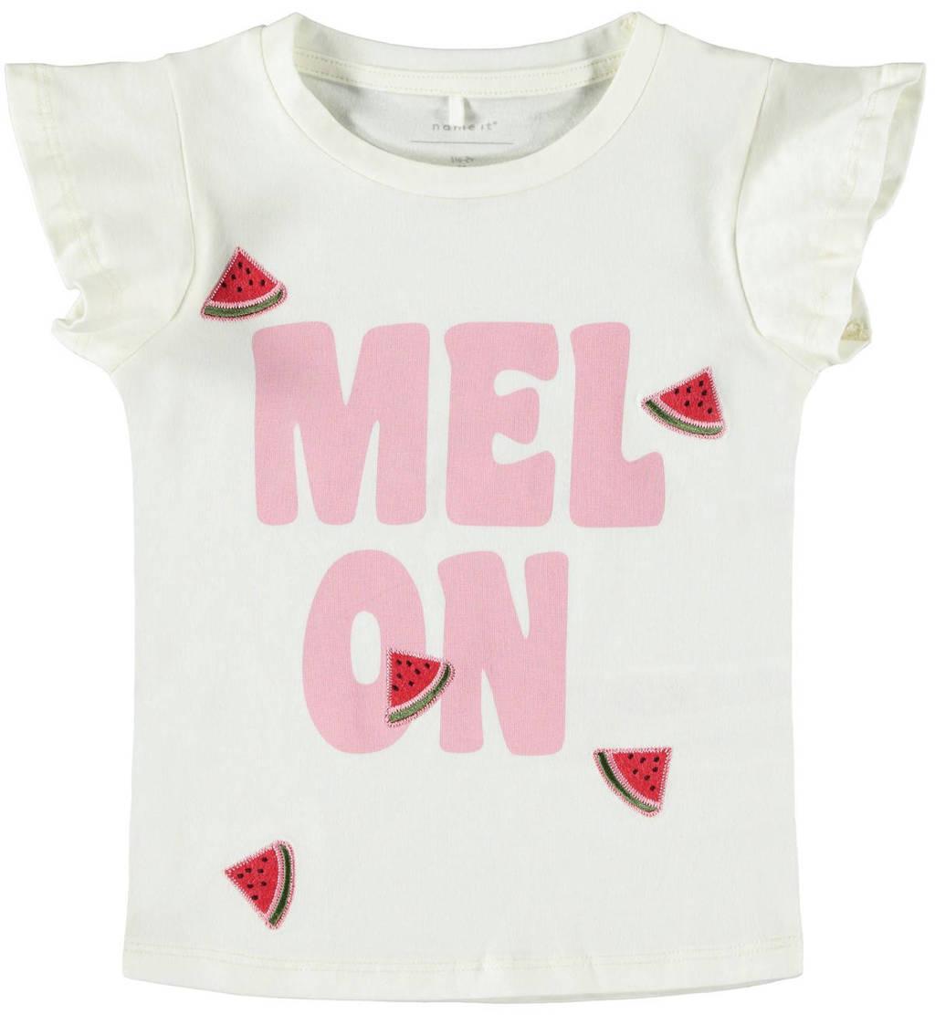 NAME IT MINI slim fit T-shirt Dara met tekst ecru/roze, Ecru/roze