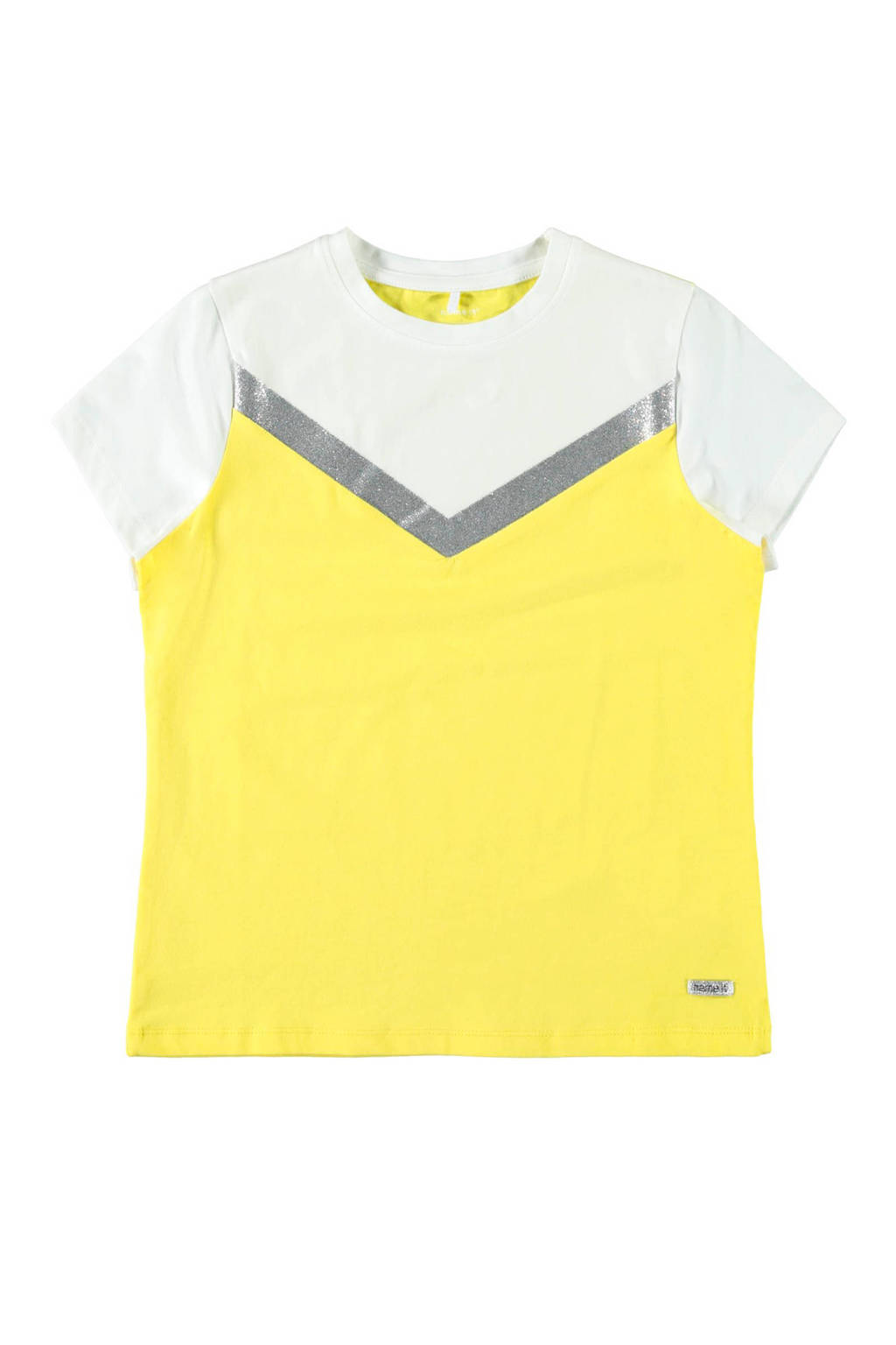 NAME IT KIDS T-shirt Dassia geel/wit/zilver, Geel/wit/zilver