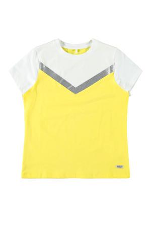 T-shirt Dassia geel/wit/zilver