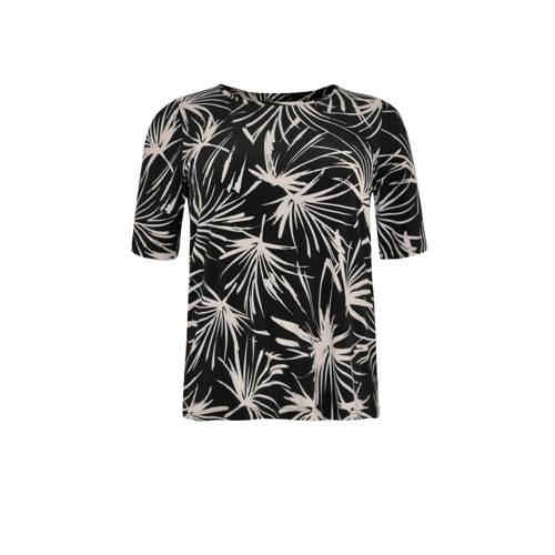 Yoek top met all over print zwart/wit