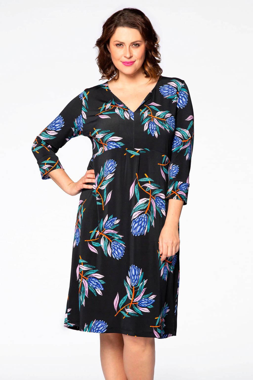Yoek gebloemde jurk zwart/multi, Zwart/blauw/groen