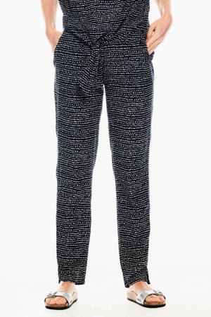 high waist regular fit broek met all over print zwart/wit