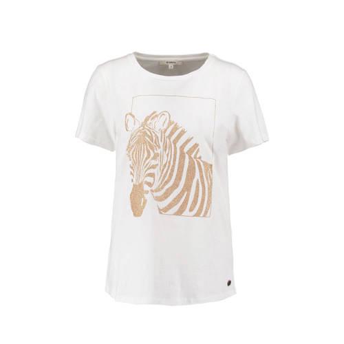 Garcia T-shirt met dierenprint en glitters wit/gou